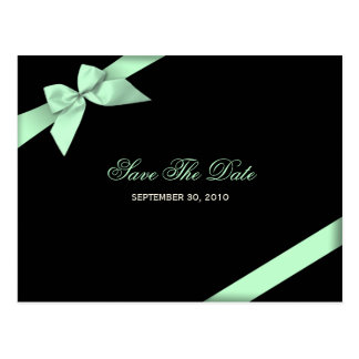Pale Green Ribbon Save the Date Announcement Postcard