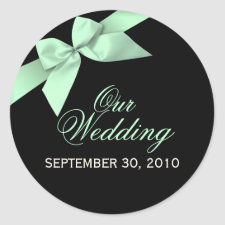 Pale Green Ribbon Save The Date Wedding Announce sticker