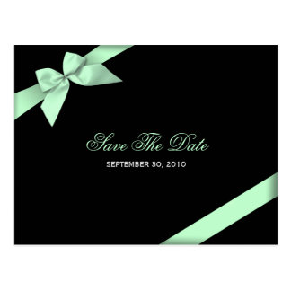 Pale Green Ribbon Wedding Save the Date 2 Postcard