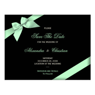 Pale Green Ribbon Wedding Save the Date 4 Postcard