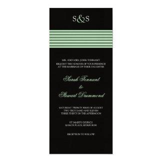 Pale Green Stripe Wedding Invitation - slim