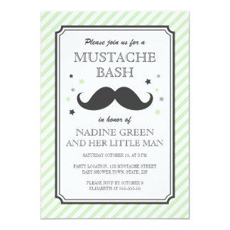 Pale green stripes little man mustache baby shower card