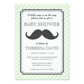 Pale green stripes retro mustache bash baby shower card