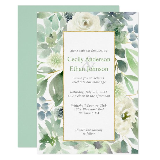 Pale Green Succulents & White Flowers Gold Wedding Invitation