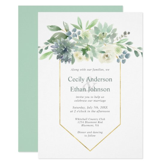 Pale Green Succulents & White Flowers Wedding Invitation