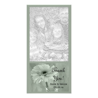 Pale Green Tinted Daisy Wedding Thank You Card