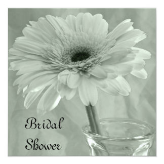 Pale Green Tinted Gerber Daisy Bridal Shower Card