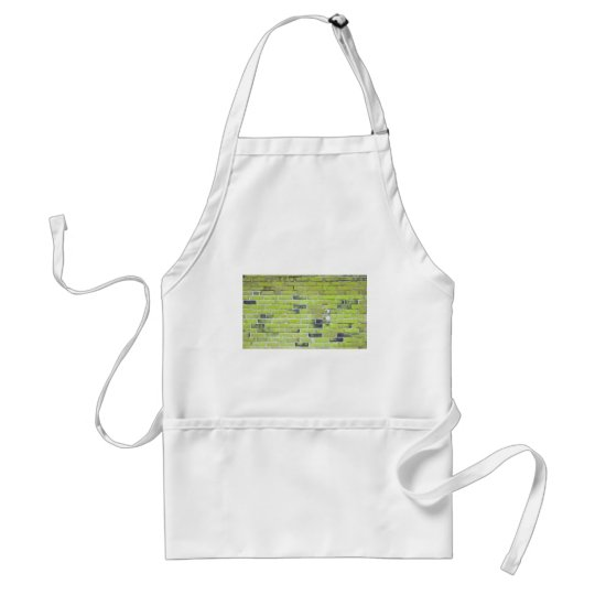 Pale Green Vintage Brick Wall Texture Adult Apron