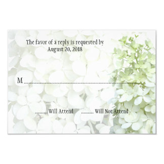 Pale Green White Hydrangea Wedding Reply Cards