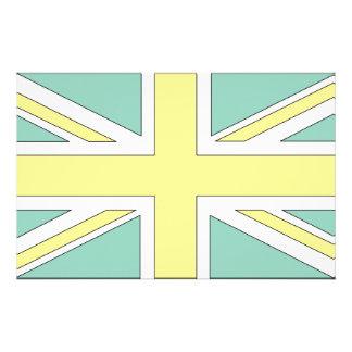 Pale Green Yellow Union Jack British(UK) Flag Stationery