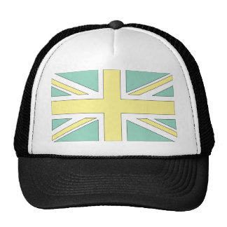 Pale Green Yellow Union Jack British(UK) Flag Trucker Hat