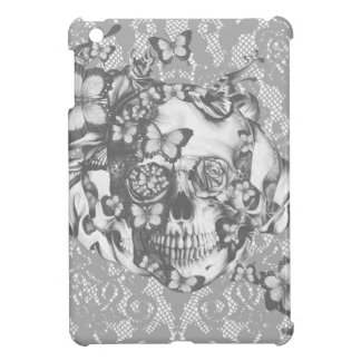 Pale grey butterfly lace skull case for the iPad mini