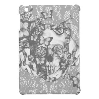 Pale grey butterfly lace skull iPad mini case