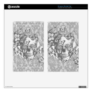 Pale grey butterfly lace skull kindle fire skins