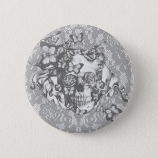 Pale grey butterfly lace skull pinback button