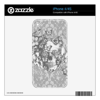 Pale grey butterfly lace skull skins for the iPhone 4S