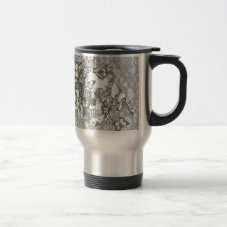 Pale grey butterfly lace skull travel mug