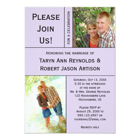 Pale Lavender Photo Block Post Wedding Invitation