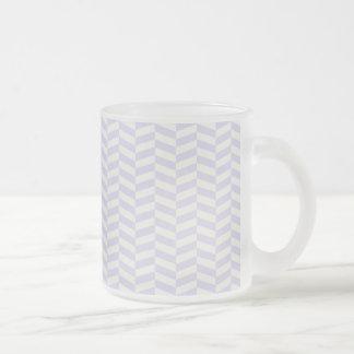 Pale lavender purple herringbone frosted glass coffee mug