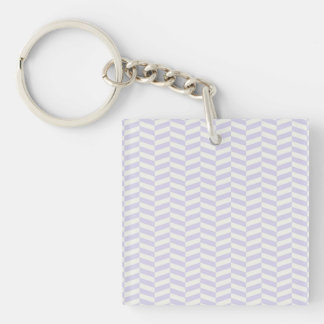 Pale lavender purple herringbone Single-Sided square acrylic keychain