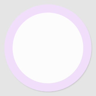 Pale lavender purple solid color border blank classic round sticker