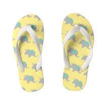 Pale Lemon Baby Elephant Parade Kid's Flip Flops