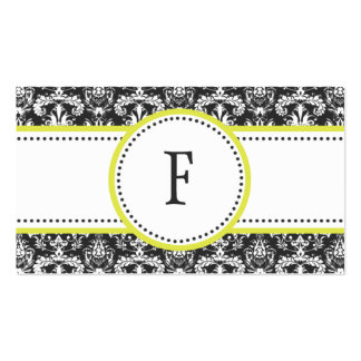 Pale Lemon & White Classic Damask Mommy Calling / Business Card