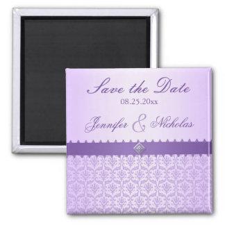 Pale Lilac Metallic Damask & Ribbon Save the Date Magnet
