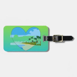 Pale Lime And Blue Two Tone Island Love Tag For Luggage