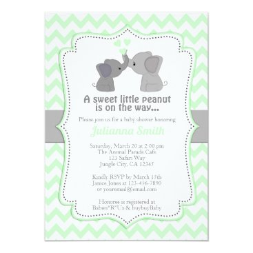 Toddler & Baby themed Pale Lime Elephant Baby Shower Invitation Chev 473