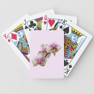 Pale Magenta and White Orchids Bicycle Playing Cards