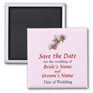 Pale Magenta and White Orchids Save The Date 2 Inch Square Magnet