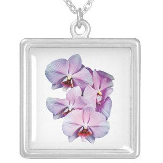 Pale Magenta Orchids Square Pendant Necklace
