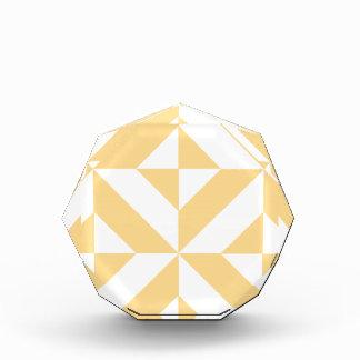 Pale Melon Geometric Deco Cube Pattern Acrylic Award
