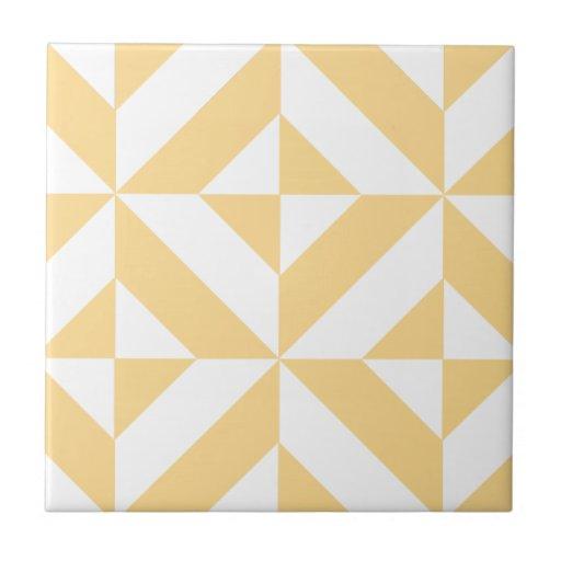Pale Melon Geometric Deco Cube Pattern Tiles
