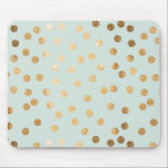 """Pale Mint and Gold Glitter City Dots Mouse Pad<br><div class=""""desc"""">This mousepad features a pattern of modern and on-trend dots of faux gold glitter on a background of soft mint,  bringing a touch of glamour to your desktop.</div>"""
