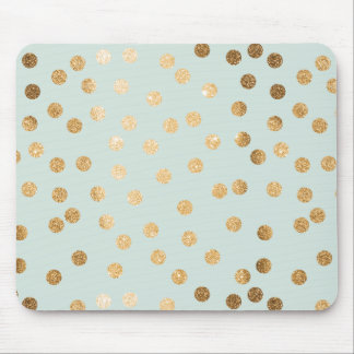 Pale Mint and Gold Glitter City Dots Mouse Pad