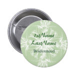 Pale Mint and White Floral ID Badge Button