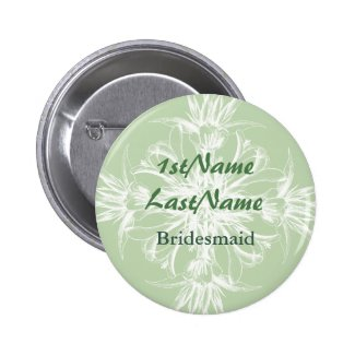 Pale Mint and White Floral ID Badge