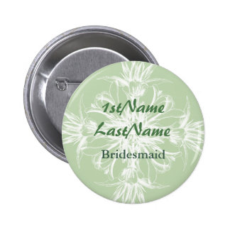 Pale Mint and White Floral ID Badge Pinback Button