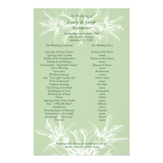 Pale Mint and White Floral Wedding Program Stationery