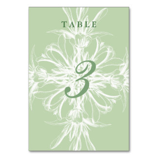 Pale Mint and White Floral Wedding Table Card