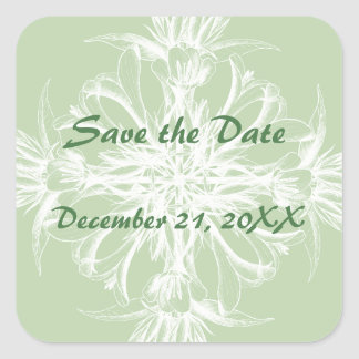 Pale Mint and White Save the Date Square Stickers