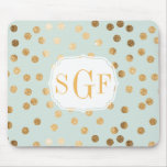 Pale Mint Blue and Gold Glitter City Dots Mouse Pad