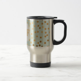 Pale Mint Blue and Gold Glitter City Dots 15 Oz Stainless Steel Travel Mug