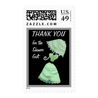 PALE MINT Dress & Umbrella Thank You Shower Gift Stamp