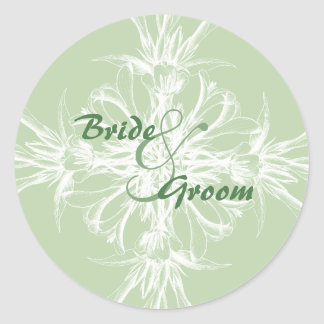 Pale Mint Floral Wedding Stickers