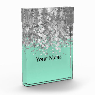 Pale mint green and faux glitter personalized award