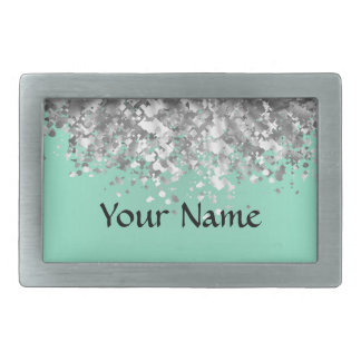 Pale mint green and faux glitter personalized belt buckle
