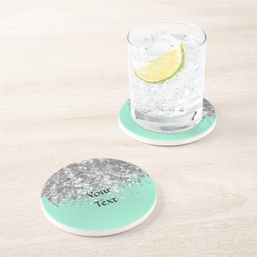 Pale mint green and faux glitter personalized drink coaster